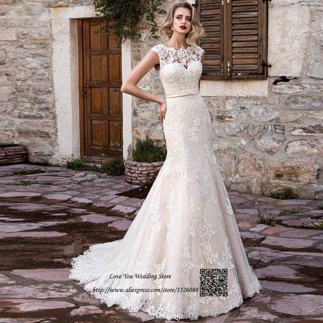 42d21a7ed7baf Plus Size Country Western Wedding Dresses Mermaid Lace Bride Dress 2017  Church Vintage Wedding Gowns Robe de Mariee Sirene Bodas