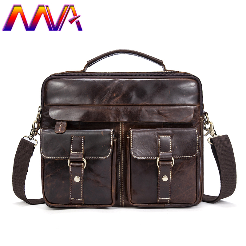 Mva Men Leather Briefcase Laptop Shoulder Bag 100% Genuine Leather Men Crossbody Bag Cheap Price Cowhide Men Leather Briefcase mva men leather briefcase 100