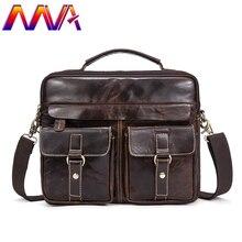 6ffe63ffb4f Mva Men Leather Briefcase Laptop Shoulder Bag 100% Genuine Leather Men  Crossbody Bag Cheap Price