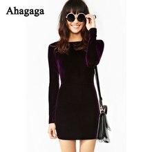 Ahagaga Women Velvet Dress 2017 Spring Solid Purple Fashion Long Sleeve O-neck Basic Elegant Sheath Dress Women Dresses Vestidos