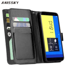 HAISSKY 9 Cards Leather Case For Samsung Galaxy J7 J5 J3 2017 EU Version A5 2016 A520 A6 Plus 2018 Wallet Case Book Flip Cover(China)