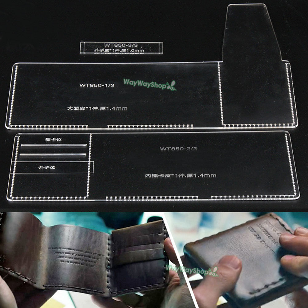 men trifold wallet acrylic 850 templates leather craft