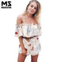Mooishe Summer Casual Women Short Playsuit Slash Neck Floral Print Belt Off Shoulder Loose Women Short