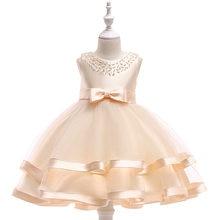 Vestidos Da Menina de verão Princesa Elegante Vestido de Casamento Da Menina de Flor Vestido de Festa Champanhe Roupas Roupas Infantis De Menina Vestidos