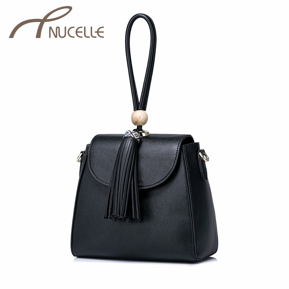 NUCELLE Women PU Leather Messenger Bags Ladies Fashion Chain Shoulder Bags Female Tassel Bucket Leisure Crossbody Bags NZ5992 just star women s pu leather messenger bags ladies embroidery shoulder purse female chain leisure whale crossbody bags jz4468