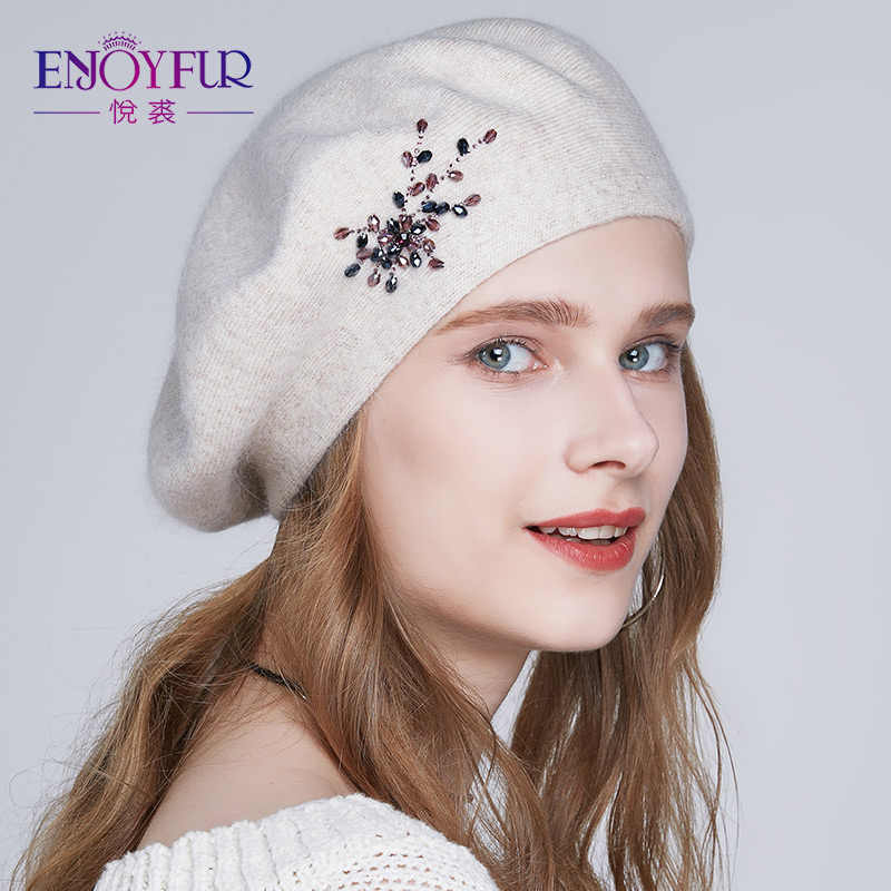 5857ad85f801b ENJOYFUR Winter Beret hats for women wool knitted warm solid color  Rhinestone berets female fashion beanie