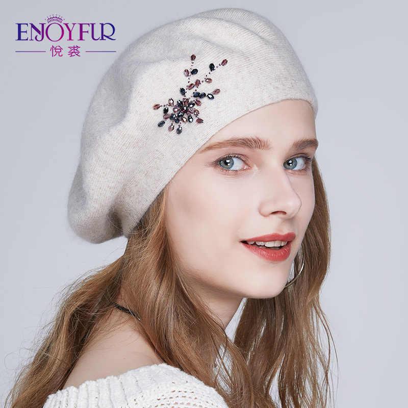 2fce2d9aa0d9d ENJOYFUR Winter Beret hats for women wool knitted warm solid color Rhinestone  berets female fashion beanie