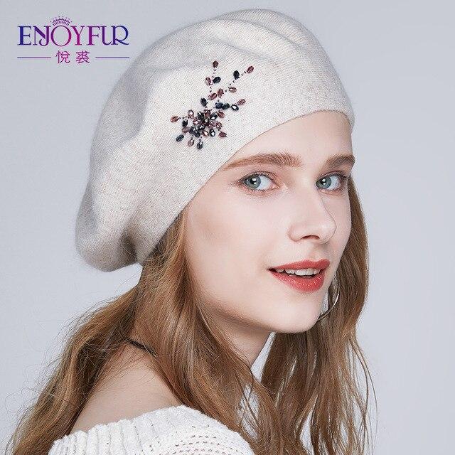 ENJOYFUR берет Шапка женская зимняя вязаная высококачественная модная из кашемира с украшением страза для девочки бренд
