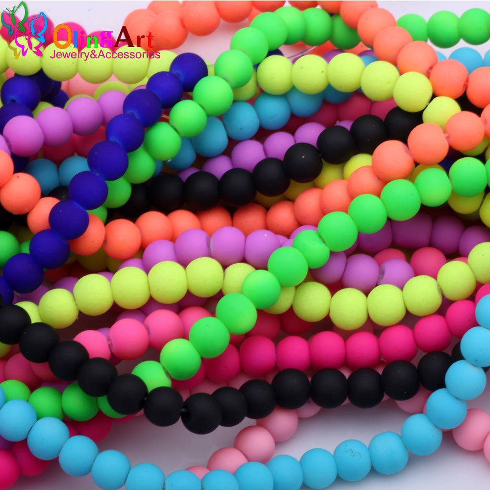 Beads A Strand 32 6mm Matte Neon Frosted Glass Round Spacer Beads Loose Beads For Diy Jewelry Making Bracelets Beads & Jewelry Making