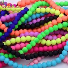 Olingart pulseira de contas de vidro, artesanal, 100 peças, 6mm, cor de doce, neon, miçangas soltas, fabricação de jóias faça você mesmo