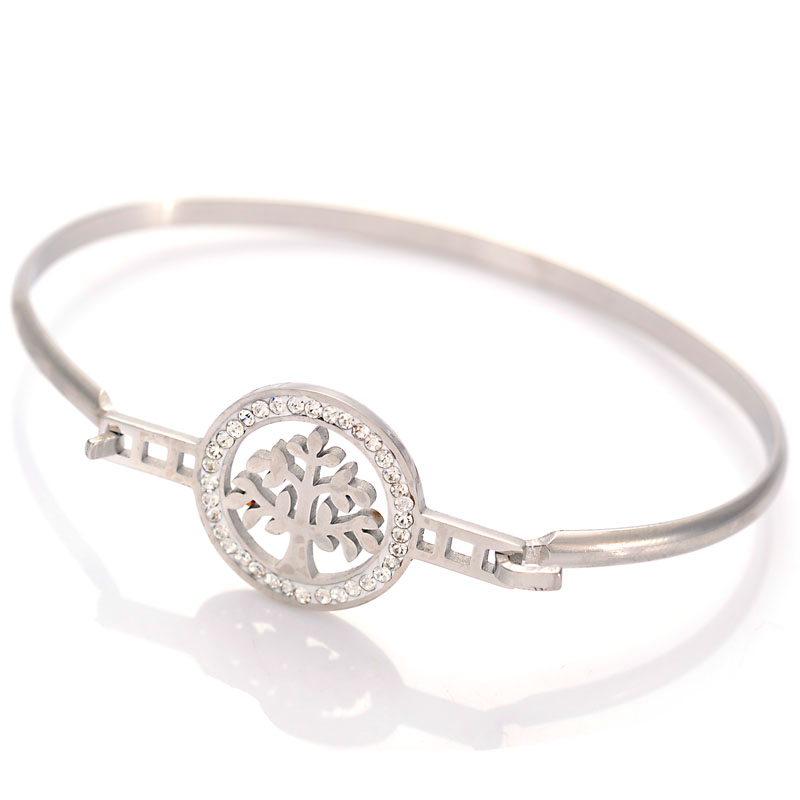 Wholesale Luxury Life Tree Crystal Setting Circle Stainless Steel Bracelet Bangle Crystal Charm Women Birthday Gift