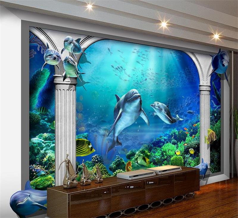 Lovely 3d Room Wallpaper Custom Non-woven Murals Undersea World Ocean Aquarium Rome Post Painting Photo Wallpaper For Walls 3d At All Costs