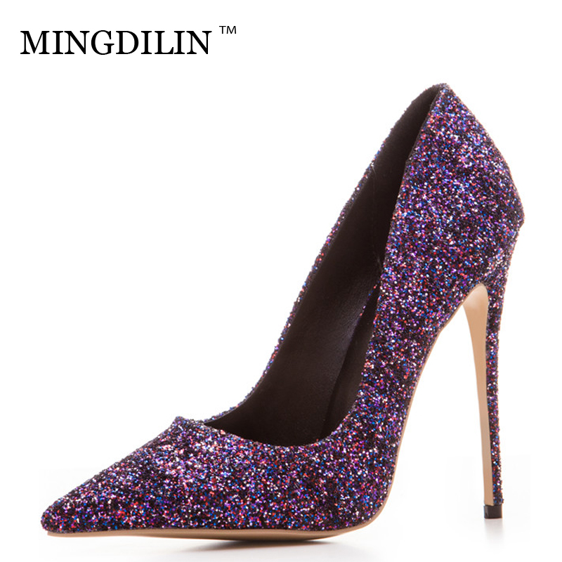 MINGDILIN Sexy Women's High Heels Shoes Silver Gold Plus Size 33 43 Woman Heel Shoes Pointed Toe Wedding Party Pumps Stiletto facndinll women wedding party shoes fashion high heels peep toe glitter platform shoes woman pumps silver gold plus size 34 43