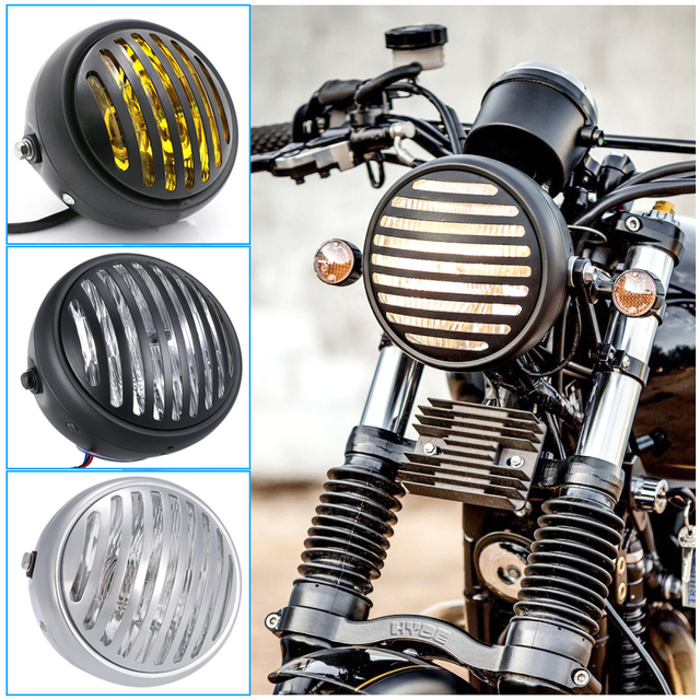 r tro phare moto fourche de montage lumi re chrome grill couverture masque pour vintage harley. Black Bedroom Furniture Sets. Home Design Ideas