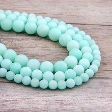 54b067ef2e2f Vinswet helado Río Azul amazonita perlas 6 8mm 10mm 12mm ronda suelta  perlas de piedra de GEMA de cuentas para pulsera collar la.