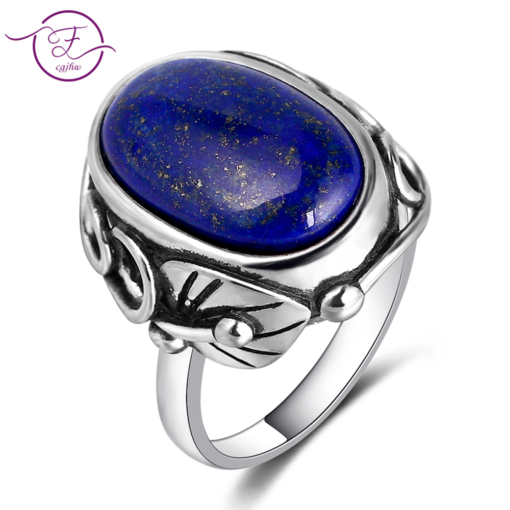 Natural Lapis Lazuli And White ChalcedonyRing Men's And Women's 925 Sterling Silver Jewelry Ring Large Stone 11x17MM Oval Gem