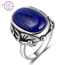 купить Natural Lapis Lazuli and White ChalcedonyRing Men's and Women's 925 Sterling Silver Jewelry Ring Large Stone 11x17MM Oval Gem по цене 558.83 рублей