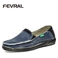 Fevral nuevo precio bajo de la llegada hombres transpirable de alta calidad zapatos casual jeans lienzo pisos mocasines zapatos casuales hombres de la moda