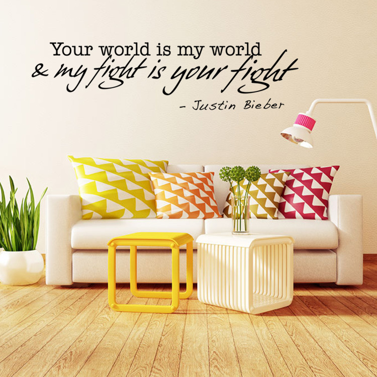 Justin Bieber Love Words Wall Decals Quote Decorations Living Room ...