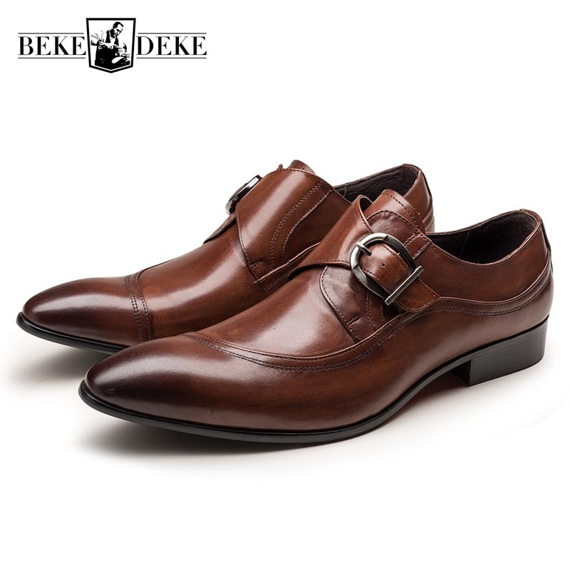 Italian Fashion Men Black Brown Dress Shoes Genuine Leather Slip On Man Formal Suit Footwear With Buckle Business Office Shoes