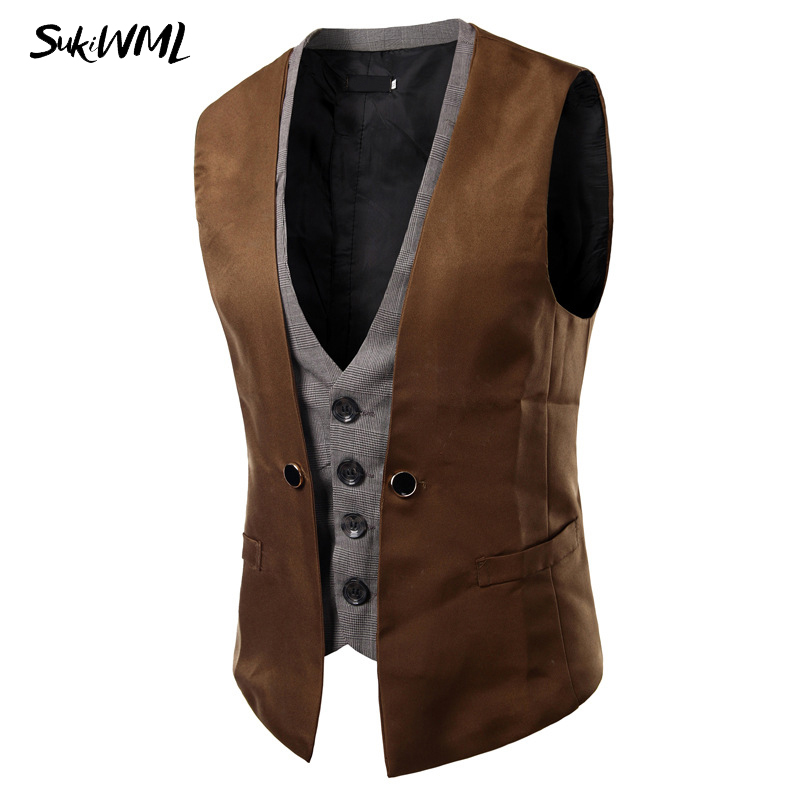 SUKIWML 2017 New Men Vest Wedding Slim Fit Faker Two Pieces Colete Social Masculino Mens Double Vest Party Gilet Costume Homme
