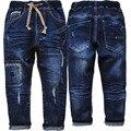 4011 meninos jeans crianças denim calças jeans calças azul marinho primavera & outono calça casual moda infantil menino novo 2017