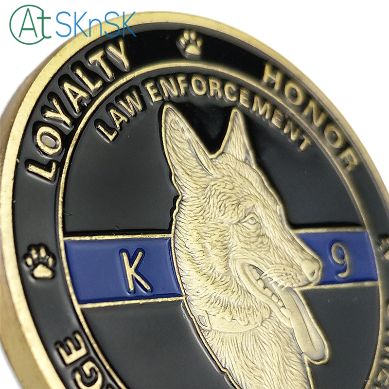 US $168 0  Commemorative Coins 40mm Military & Police Special Unit K9 Dog  American Flag Paw Challenge Coin Collection Business Gift-in Non-currency