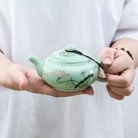 longquan celadon porcelain tea pot handpainted pots fish relief antique style Chinese ceramic pot of tea 190ml kungfu teapots