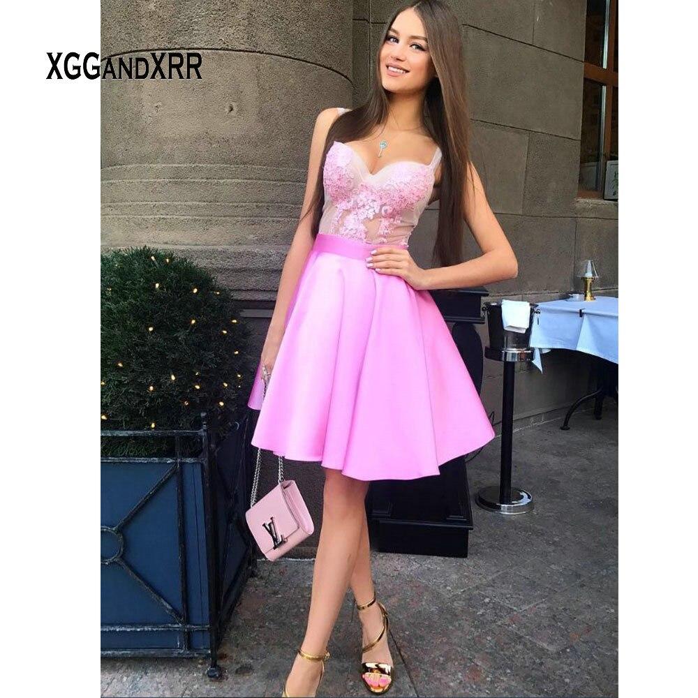 Abschlussballkleider Wedtrend Rosa 2019 Mini Cocktail Kleid Mit Langen Ärmeln Elegante O Neck Sexy Kurzen Dame Kleid Homecoming Kleid Kleid Elegant Im Stil