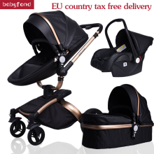 Free Ship! Newborn Luxury 3 in 1 Baby stroller Brand PU Leather baby Pram EU safety Car Seat Bassinet newborn 0-3 years babyfond
