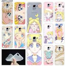 Anime sailor moon lune kat case Cover TPU Coque Voor Samsung Galaxy J6 J8 J3 J5 J7 J4 J2 J1 plus 2018 2016 2017 EU Prime Ace(China)