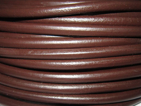4mm Brown Round leather cord Smooth Genuine cow leather cording in Jewelry Findings Components from Jewelry Accessories