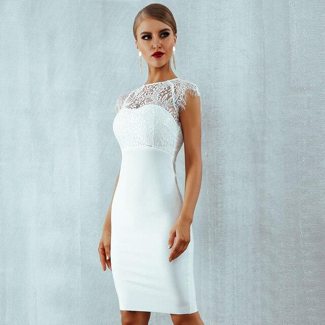 Фото облегающее платье seamyla новинка 2021 женское элегантное белое
