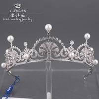 Cristais prata flor Big Tiara Crown Headbands casamento cabelo nupcial joias acessorios com