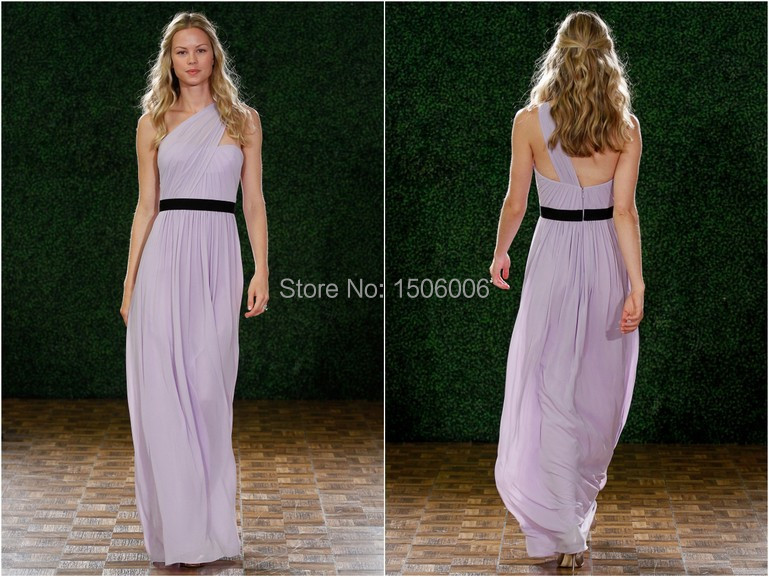 Bridesmaid Dress Lavender Crinkle Chiffon One Shoulder Ruched Bodice With A Line Skirt For Wedding 2017 Collection Md16 In Dresses From
