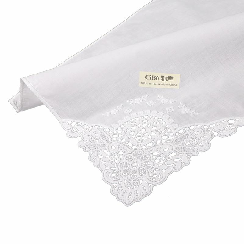 D611: 120 pieces white premium cotton lace handkerchiefs blank crochet hankies for women/ladies wedding handkerchief