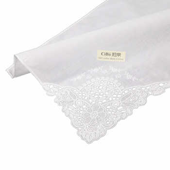 D611: 120 pieces white premium cotton lace handkerchiefs blank crochet hankies for women/ladies wedding handkerchief - DISCOUNT ITEM  15% OFF All Category