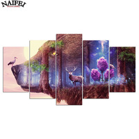5d diy Diamond embroidery deer In The Forest 5pcs Multi picture diamond painting Cross Stitch abstract wolf Rhinestone crafts
