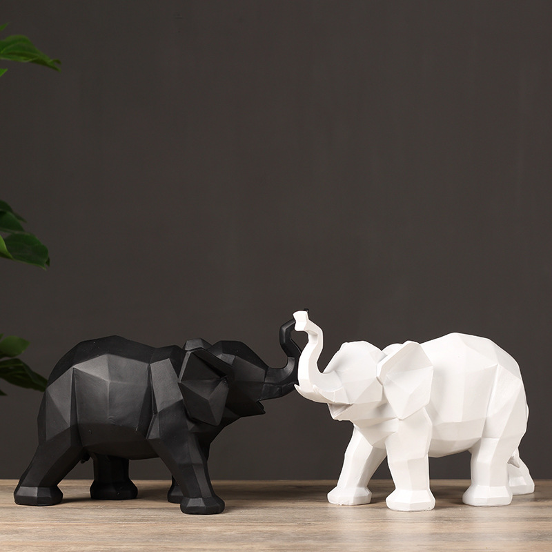 Modern Black Resin Elephant Sculpture Geometric Animal Statue Figurines Wildlife Decor Gifts Ornament