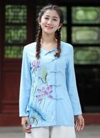 Top Selling Light Blue Ladies Cotton Linen Shirt Tops Classic Chinese Style Blouse Size S M