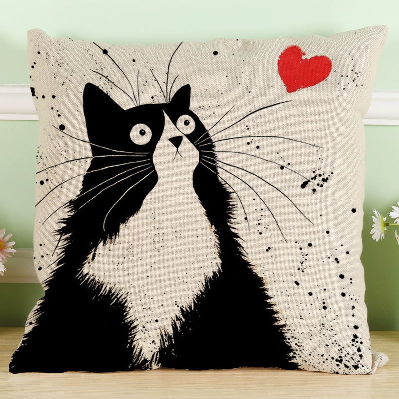 Home decoration black and white cat printing polyester cushions car sofa cushion sets cojines decorative pillows chair cushion