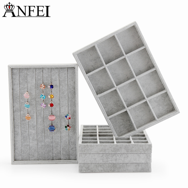 Anfei Jewelry Display Tray Necklace Display Box Velvet Jewelry