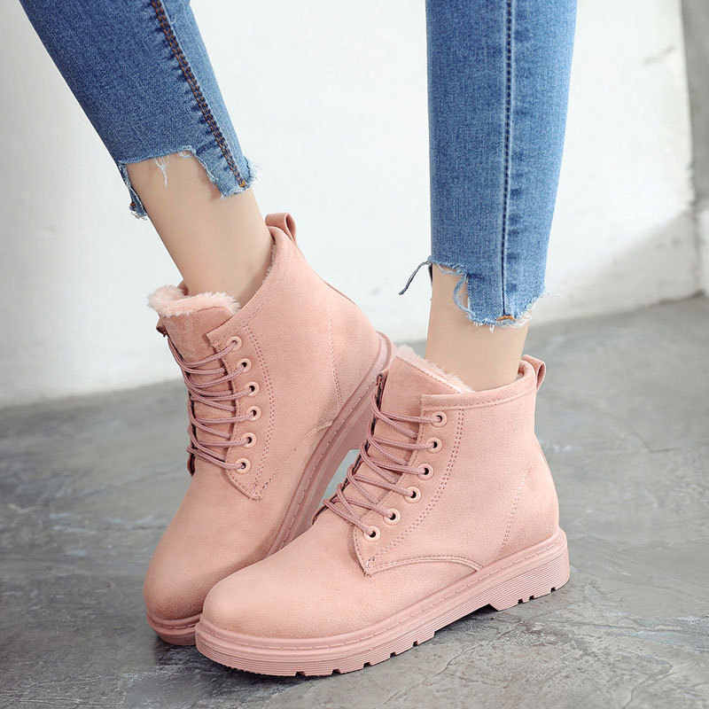Boots Women 2019 Casual Ankel Boots For Women Lace Up Ladies Shoes Plush Snow Boots Bota Feminina fgb789