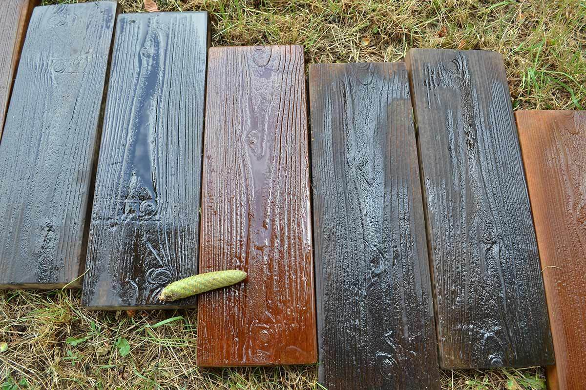 2 Pieces / Set Molds Old Wooden Boards Concrete Mould Garden Stepping Stone Path Road Brick Mold Yard DIY Decoration