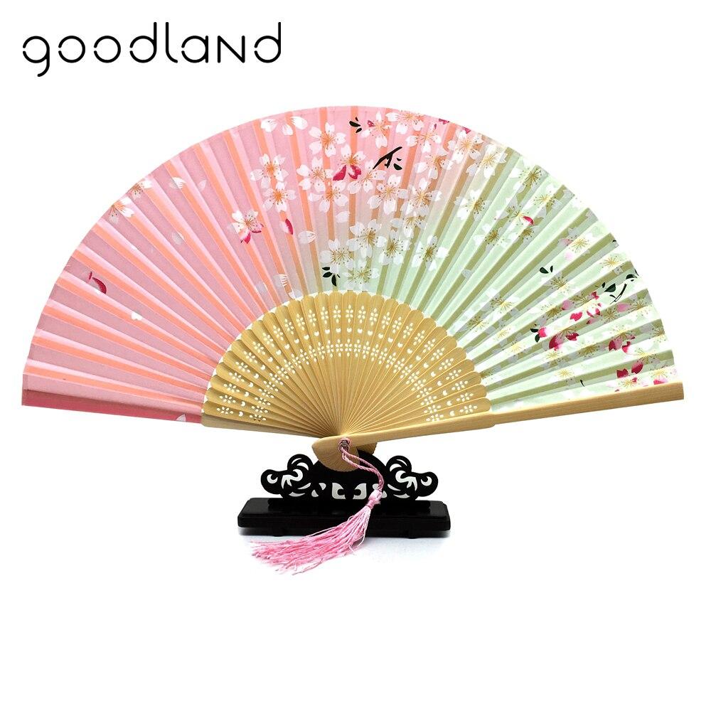 Frete Grátis 1 pcs Moda Chinês Ventilador de Mão Ventilador de Dobramento Japonês Sakura flor de Cerejeira Bolso Verão Presente Do Ofício Da Arte
