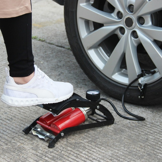 Auto Car Foot Air Pump Inflator Portable High Pressure Steel No Slip For Motorcycle Bicycle Tire Universal