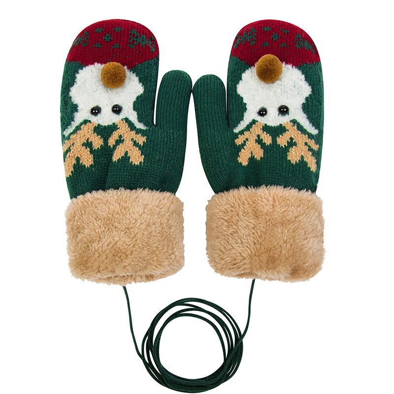 Knit Mittens With Warm New Plush Liningchristmas Moose Pattern