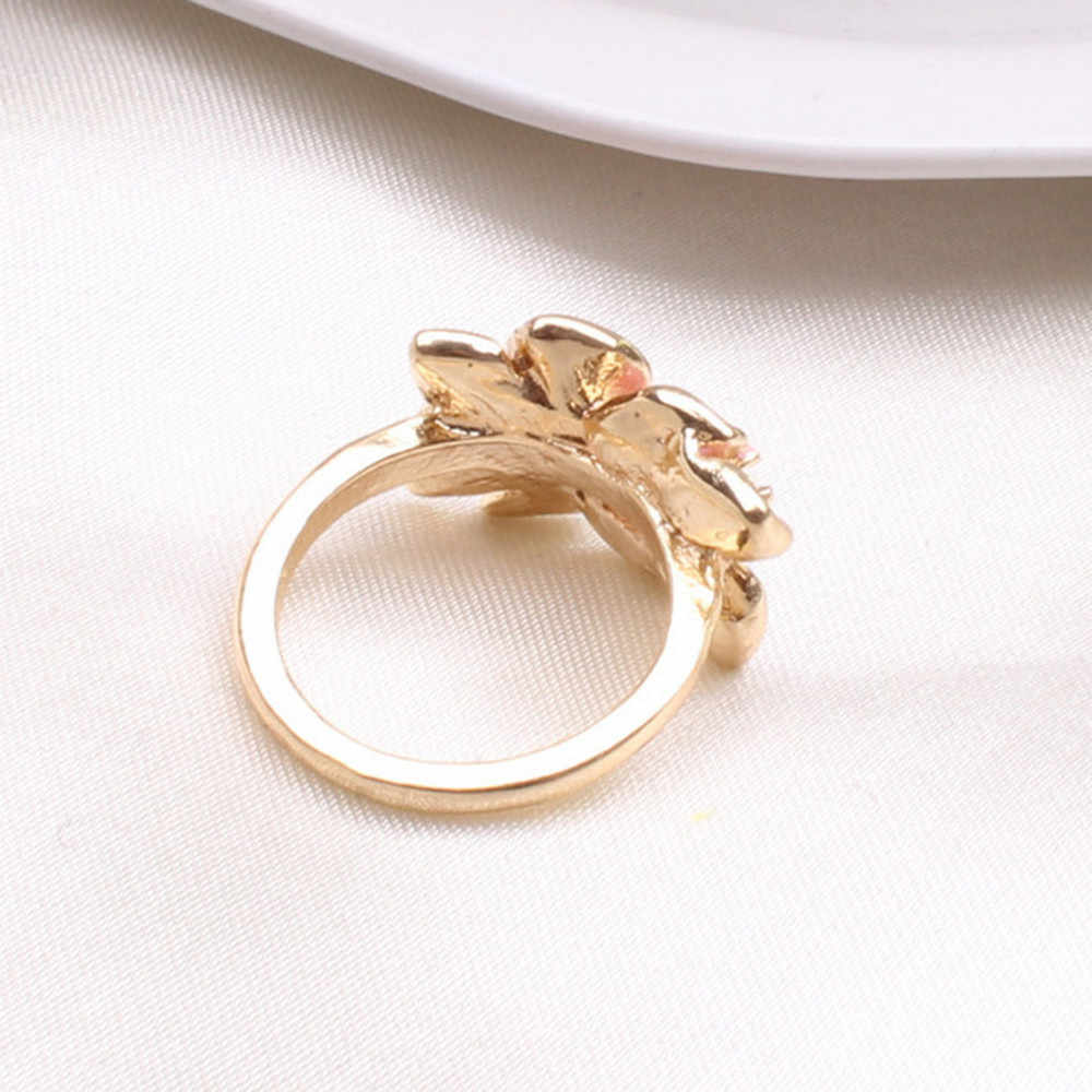 2019 New Gold คริสตัลคริสตัล Cubic Zircon แหวน Camellia สำหรับสุภาพสตรีงานแต่งงานงานแต่งงานเครื่องประดับ Bijoux Anillos Mujer