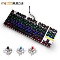 Metoo механическая клавиатура 87/104 Anti-ghosting синий черный красный переключатель светодиодный со светодиодной подсветкой Проводная игровая клав...