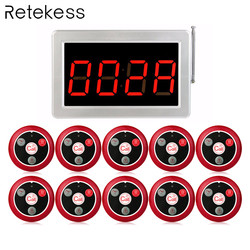 999 Channel RF Wireless Calling System 1 Receiver Display Host +10pcs Call Button T117 for Restaurant Guest Call System